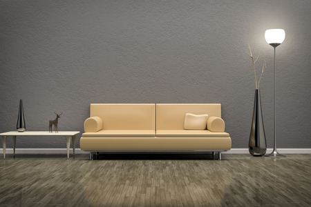 single shelf: A green room with a sofa and background for your own content Stock Photo