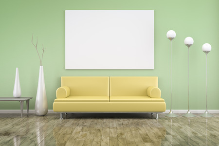 3D rendering of a green room with a yellow sofa photo