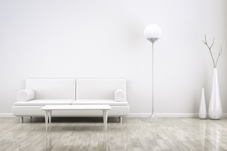 3D rendering of a white room with a sofa photo