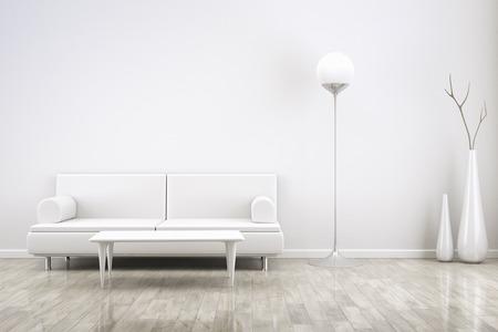 case moderne: Rendering 3D di una stanza bianca con un divano