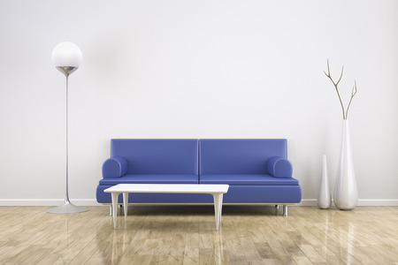 3D rendering of a white room with a blue sofa photo