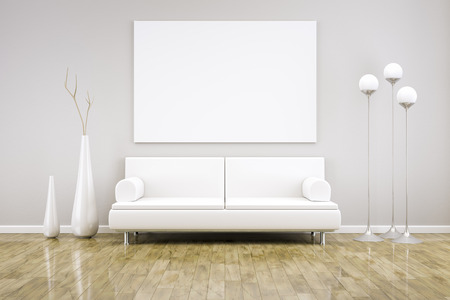 cosy: 3D rendering of a white room with a sofa