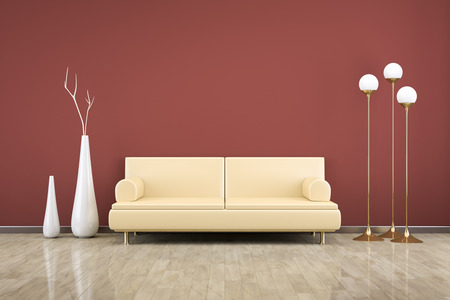 3D rendering of a red room with a sofa photo