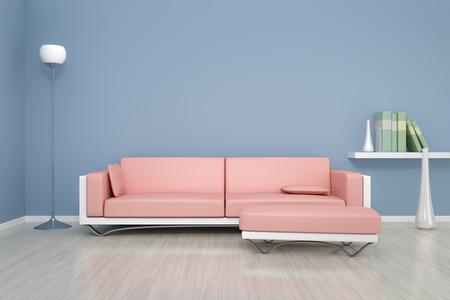 独自のコンテンツの青いルーム ソファ付け背景の 3 D レンダリング