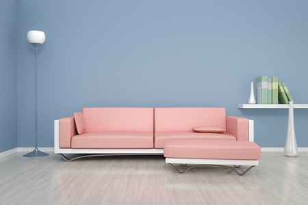 3D rendering of a blue room with a sofa and background for your own content