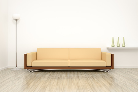 3D rendering of a room with a sofa photo