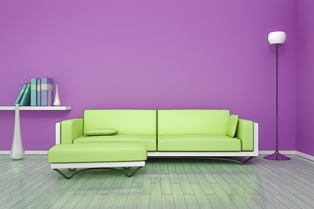 livingroom: 3D rendering of a purple room with a green sofa in comic style
