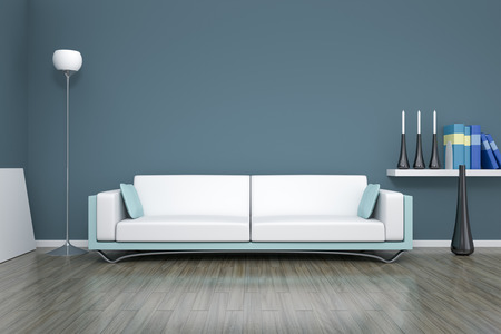 3D rendering of a blue room with a sofa