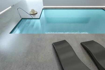 3d swimming pool: 3D rendering of a beautiful indoor pool Stock Photo