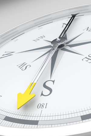 Una imagen de una brújula con estilo, con una flecha amarilla