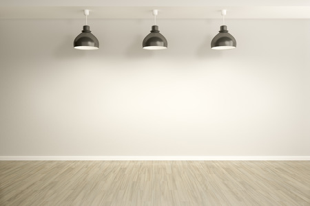 spot clean: An image of an empty room with three lamps