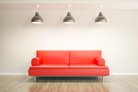 red couch: 3d rendering of a room and a sofa with space for your content