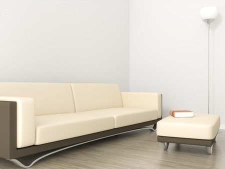 3D rendering of a room with sofa and space fror your content photo