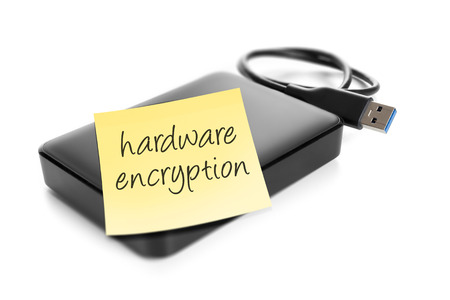 An image of an external hard drive with the text hardware encryption photo