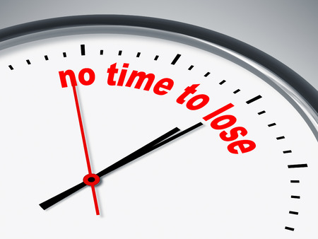 no time: An illustration of a clock with the words no time to lose Stock Photo