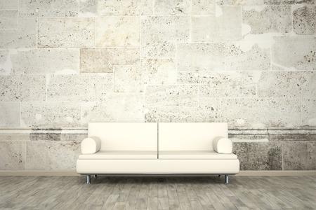 Een beeld van een bank voor een foto muurschildering stenen muur Stockfoto