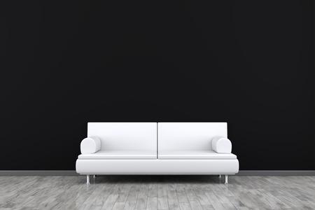 部屋とあなたのコンテンツのためのスペースが付いているソファーの 3 d レンダリング
