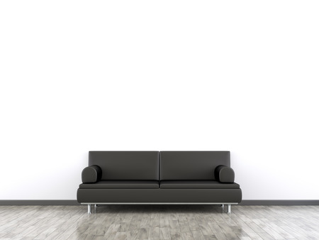 3d rendering of a room and a sofa with space for your content photo