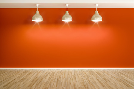 An image of an empty red room with three lamps Stock Photo