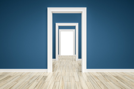 view of a wooden doorway: An image of some rooms with a wooden floor