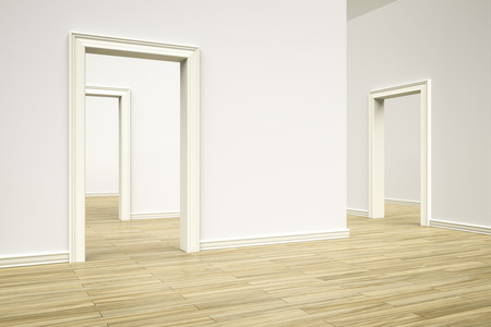 room door: 3D rendering of some rooms with a wooden floor