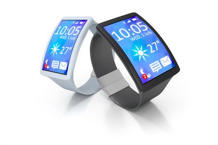 big screen: 3D rendering of two big screen smart watch Stock Photo
