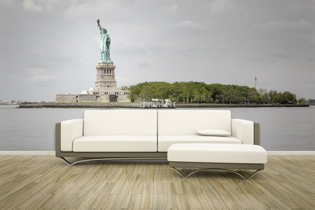 wall mural: 3D rendering of a sofa in front of a photo wall mural statue of liberty new york