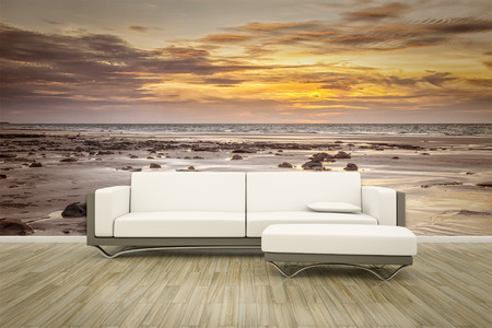 wall mural: 3D rendering of a sofa in front of a photo wall mural ocean sunset