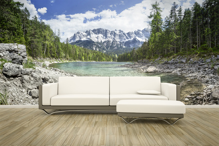 wall mural: 3D rendering of a sofa in front of a photo wall mural Eibsee Zugspitze