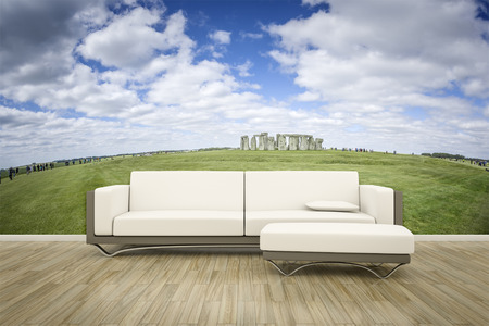 luxury lifestyle: 3D rendering of a sofa in front of a photo wall mural stonehenge