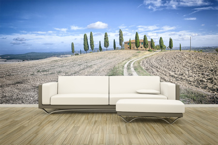 wall mural: 3D rendering of a sofa in front of a photo wall mural Tuscany