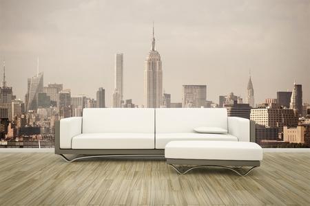 ニューヨークの写真の壁の壁画の前でソファの 3 D レンダリング 写真素材