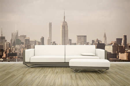 minimalist apartment: 3D rendering of a sofa in front of a photo wall mural New York