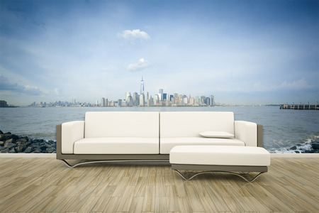 wall mural: 3D rendering of a sofa in front of a photo wall mural New York
