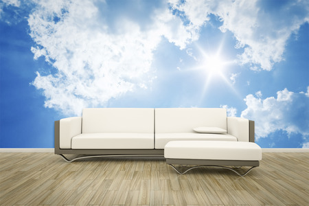 wall mural: 3D rendering of a sofa in front of a photo wall mural blue sky