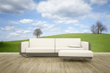 wall mural: 3D rendering of a sofa in front of a photo wall mural spring time Stock Photo