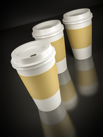coffee to go: Three coffee to go on black background Stock Photo