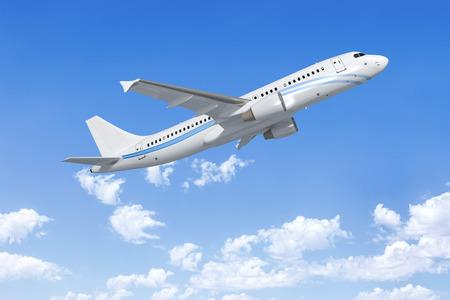 anuncio publicitario: Una imagen de un avión sobre las nubes Foto de archivo
