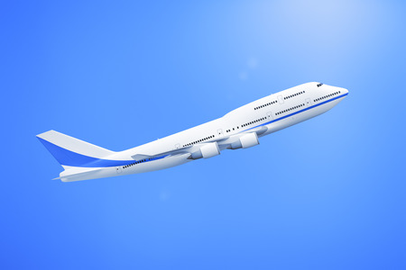 jumbo: A 3D rendering of a 747 Airplane in the blue sky Stock Photo