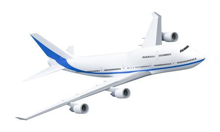 白で隔離 747 飛行機の 3 D レンダリング 写真素材