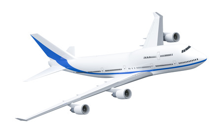 A 3D rendering of a 747 Airplane isolated on white