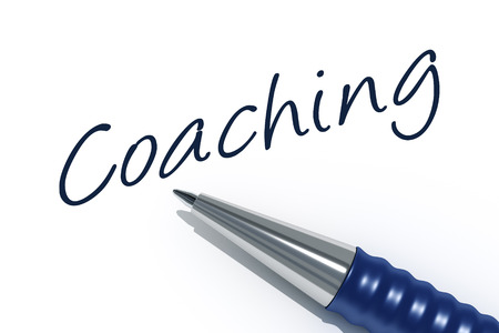 tip style design: An image of a pen with the message coaching Stock Photo