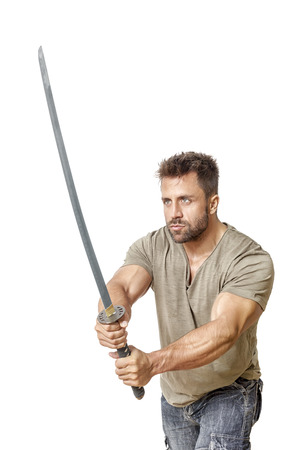 muscle guy: An image of a strong man with a sword