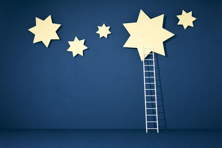 metas: alcanzar las estrellas con una escalera blanca