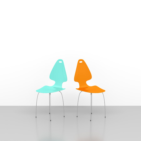 two chairs: An image of two chairs in a white room