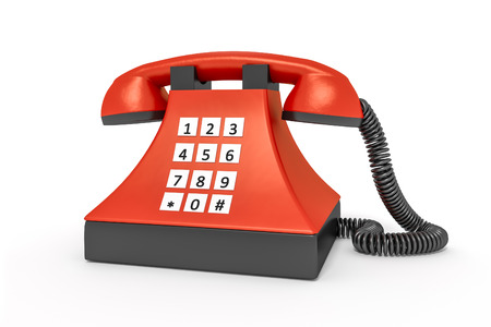 off the hook: An image of an old style red telephone Stock Photo