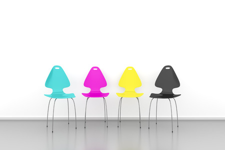 cmyk: An image of some CMYK chairs in a row