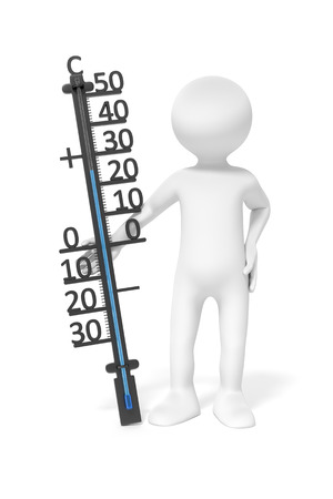 thermostat: An image of a simple 3d man holding a thermometer