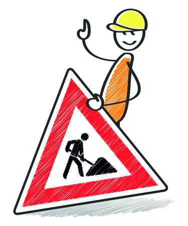 dirt road: An image of a warning sign with a stick man Stock Photo