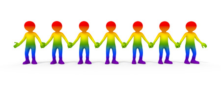 symbolized: gay community symbolized with some colored people Stock Photo